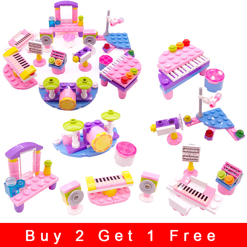 Children Small Particles Spell Inserted Building Blocks Toys Music Girl Assembled Plastic Educational Toy Model Gift Legoing N08