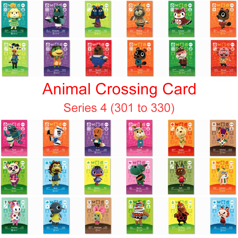 Series 4 (301 To 330) Animal Crossing Card Amiibo Card Work For NS 3DS Switch Game New Horizons Animal Crossing Villager Card