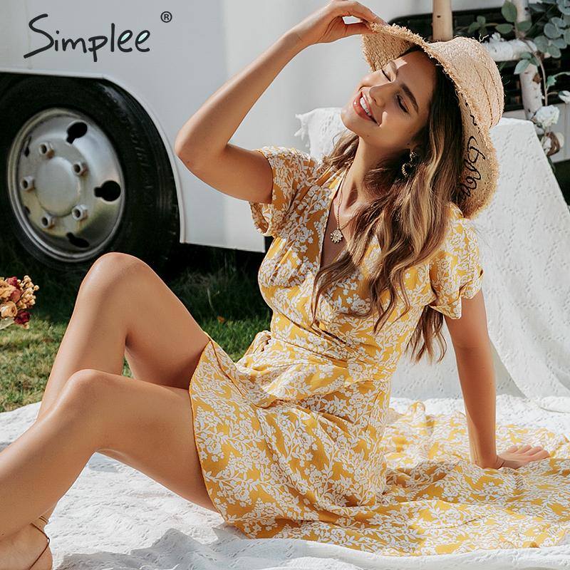Simplee Women v neck print dress Spring summer ruffled sleeve wrapping boho dress Holiday ladies chic belt party dress vestidos