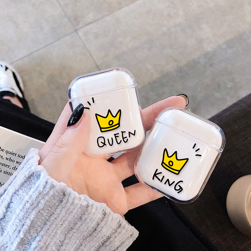 Luxury Couple Crown Style Hard PC Transparent Case For AirPods 1 2 Cartoon Patterned Wireless Earphone Charging Box Cover Bag