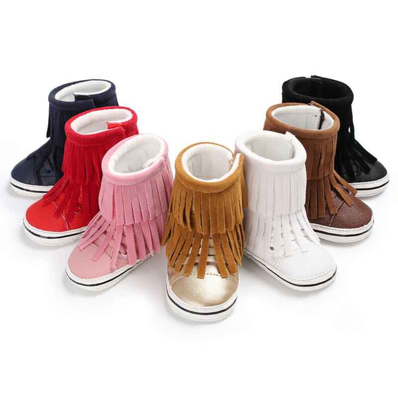 2019 Baby Boots Toddler Baby Boy Girl Snow Boots Winter Booties Infant Newborn Solid Tassels Soft Crib Shoes 0-18M