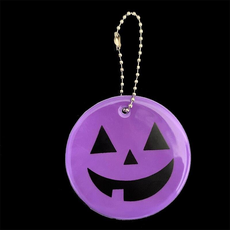 Хэллоуин Тыква брелки мягкий ПВХ отражающий брелок подвесные аксессуары для сумок брелки для дорожного движения видимая Безопасность использования - Название цвета: purple