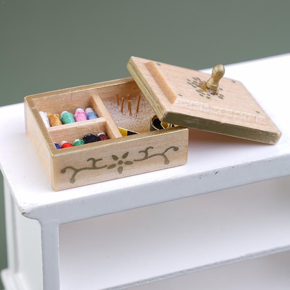 1:12 Scale Dollhouse Miniature Wodden Dollhouse Sewing Toy Accessories Decoration Box Model Pretend Toy Play Furniture Exqu C1V3