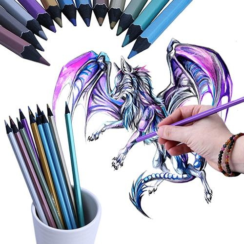 12 Colors Metallic Non-toxic Drawing Pencils Painting Sketching Pens Kids Gifts