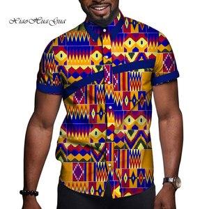 Image 5 - Африканская мужская одежда базин богатый принт Повседневная вечевечерние мужские топы с коротким рукавом футболки рубашка Дашики Анкара WYN714