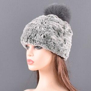 Image 5 - Winter Fur hat for women Real rabbit Fur Hats Elastic Warm Soft Fluffy Genuine Fox Fur Pompom Cap Luxurious Quality Natural fur