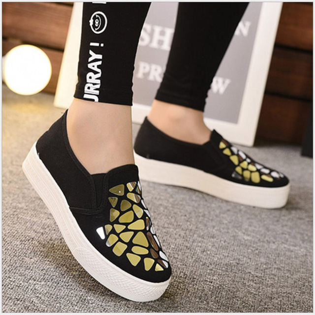 LASPERAL 2019 Fashion Women Loafers Vulcanize Shoes Canvas Sequins Sneakers Shoes Ladies Slip On Breathable Shallow Casual Shoes 1