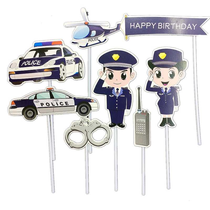 7Pcs Polícia policial Policial Masculino Avião Cake Toppers algemas máquina Chamada de Decoração Feliz Aniversário Do Partido Dos Miúdos Da Menina do Menino
