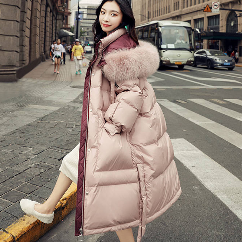 Bella Philosophy Women 2019 Winter Women Real Raccoon Fur Hooded White Duck Down Coat Pink Solid Thick Warm Loose Female Parkas