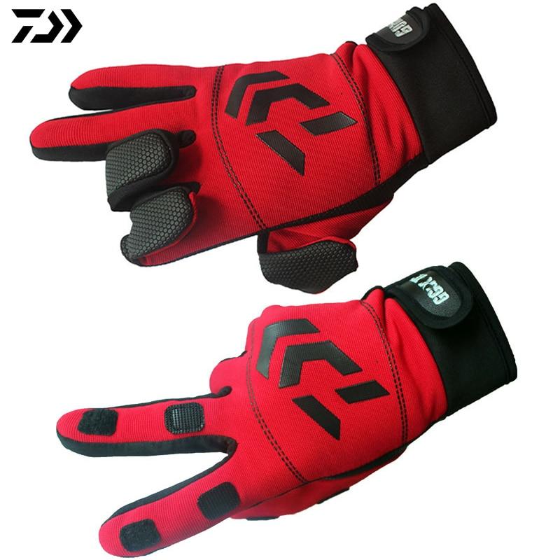DAIWA Gloves Quality Anti Slip Camping Hiking Fishing Gloves Cotton Outdoor Sports Slip-resistant Fishing clothing