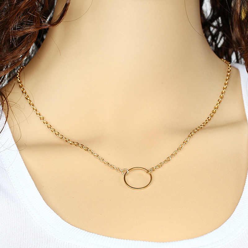 Moda damska minimalistyczny prosty koło zawieszki naszyjnik łańcuszkowy ND302