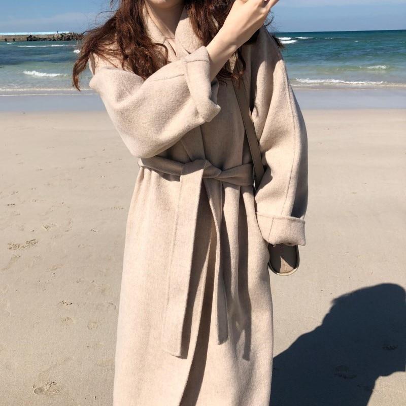 19 Winter Oversize Long Trench Coat Women Cashmere Coat Korean Lady Windbreaker Outwear Streetwear 95