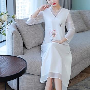 2020 chińska sukienka Qipao Cheongsam nowoczesne kobiety szyfonowe suknie w stylu Vintage nadrukowane kwiaty kobiety długie Qipao Vestido sukienka 10178 tanie i dobre opinie Tangslady Poliester Cheongsams Suknem