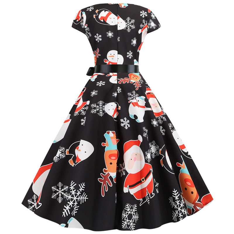 Women Christmas Party Dress robe femme Plus Size Elegant Vintage Short Sleeve Xmas Summer Dress Black Casual Midi Jurken Vestido 654