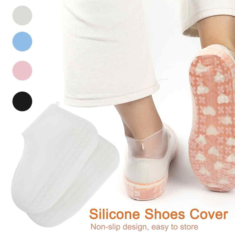 1pair Silicone Waterproof Shoe Cover Outdoor Rainproof Hiking Skid-proof 4 Colors Safety Protection Shoes Cover Antiskid Insoles
