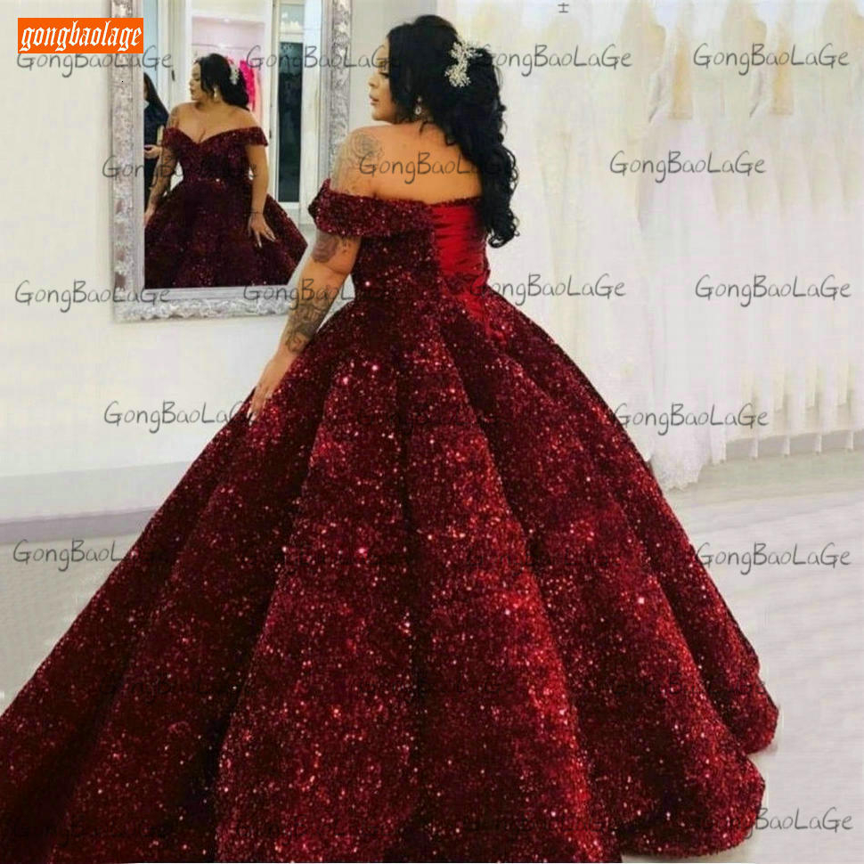 Sparkly Burgundy Evening Dress Long 2020 Off Shoulder Sequin Lace Up Ball Gown Formal Dresses Reflective Pageant Evening Gowns 2