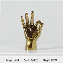 Figurine en porcelaine dorée, décoration de maison moderne, Statue de geste, cadeaux de bureau