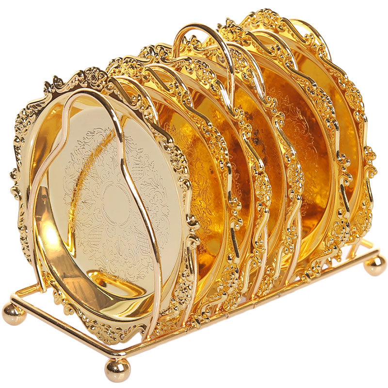 6pc Classical Golden Cocktail Metal Coaster Continental Vintage Zinc Alloy Plated Gold Plated Mat placemat diameter 10.5cm