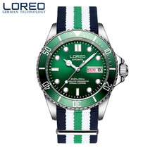 LOREO Watch Men Brand Luxury Canvas Watches Green Automatic Mechanical Stainless Steel Waterproof Business Sport Watch relogio loreo authentic automatic mechanical watch waterproof belt diamond fashion luxury elegant hollow lady watch