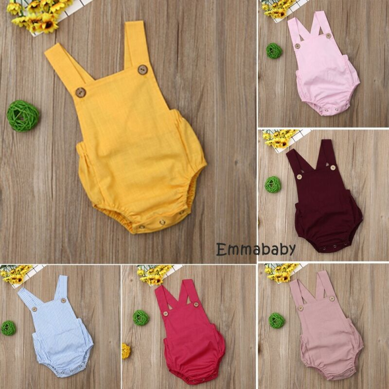 <font><b>Baby</b></font> Boys Girls Bodysuits Infant Newborn Sleeveless Suspender Jumpsuits Cotton Clothes One-pieces Outfits <font><b>Baby</b></font> Casual <font><b>Body</b></font> Suit image