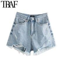 TRAF-pantalones cortos vaqueros rasgados con dobladillo deshilachado y bolsillos para Mujer, Vaqueros cortos Vintage de cintura alta con cremallera para Mujer