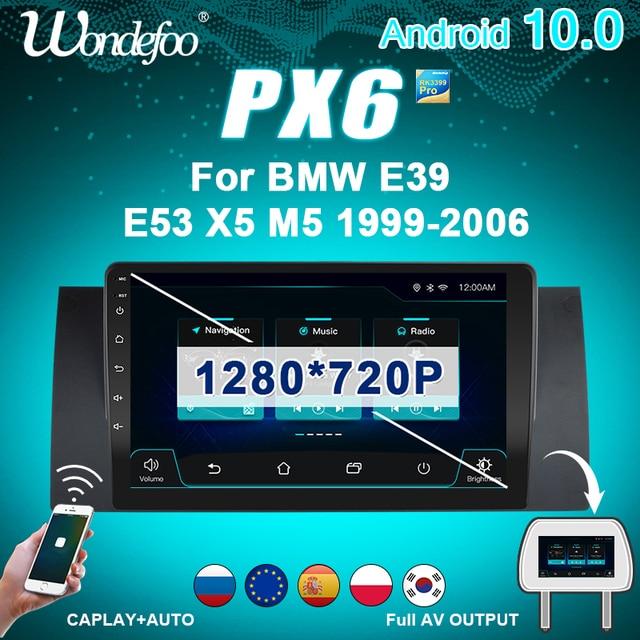 2 Din Android 10 Autoradio PX6 Voor Bmw E39 E53 X5 M5 1999 2006 Multimedia Auto Stereo Auto audio Screen Navigatie Gps Bluetooth
