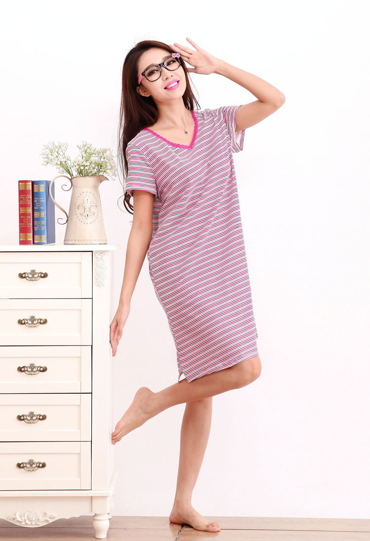 Processing Summer Short Sleeve Pajamas Pure Cotton Women's Home Wear Stripes Large Size Plus-sized Nightgown Wholesale