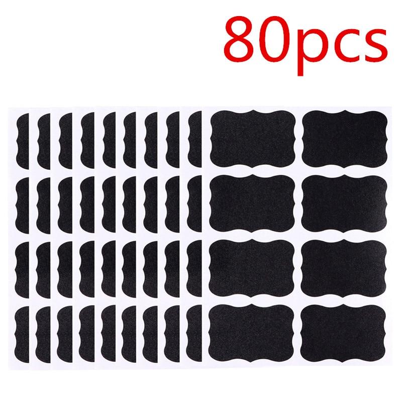 40pcs/80pcs/Set  Blackboard Spice Sticker Reusable Jar Labels Kitchen Label Stickers Organizer  Wall Stickers Board  Waterproof