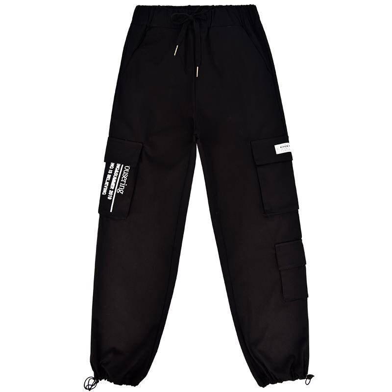 Khaki Cargo   Pants   Women Hip Hop Streetwear Track   Pants     Capris   Elastic High Waist Female Trousers Female Ulzzang Chic Sweatpants