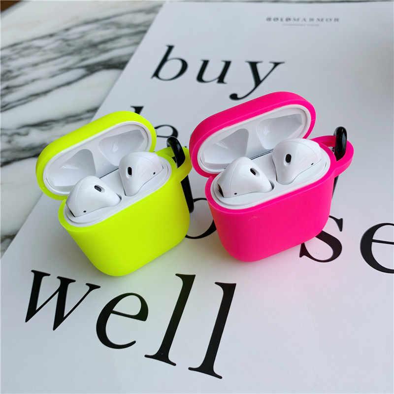 Fluorescerende Kleur Voor Apple Airpods Case Effen Kleur Bluetooth Oortelefoon Beschermende Cover Voor Air Pods Pro 2 1 Hoofdtelefoon Case doos