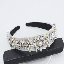 Accesorios para el pelo de la hoja del diamante de imitación de la diadema de La Perla Retro joyería de la marca blanca bandas de cabeza Kawaii para las mujeres de la vendimia de la boda