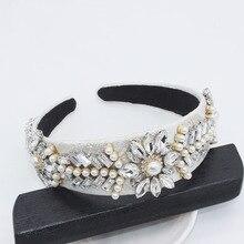 Retro Perle Stirnband Strass Blatt Haar Zubehör Weiß Marke Schmuck Kawaii Kopf Bands für Frauen Vintage Haarband Hochzeit
