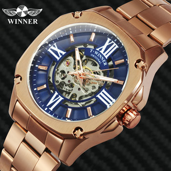цена на WINNER Official Vintage Fashion Automatic Watch Men Skeleton Mechanical Mens Watches Top Brand Luxury Steel Strap Square Clock
