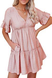 Женское Короткое мини-платье в стиле бохо, пляжный сарафан с v-образным вырезом, свободный сарафан с короткими рукавами и оборками, лето 2020