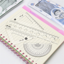Student 4-piece set standard geometric ruler Triangle ruler Wave straight ruler Thickened and super transparent