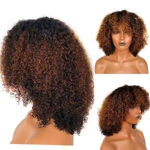 Image 1 - 13x6 150% 보이지 않는 허니 블론드 옹 브르 컬러 숏 밥 컷 레이스 프론트 인간의 머리 가발 앞머리 곱슬 머리 가발 인도 레미
