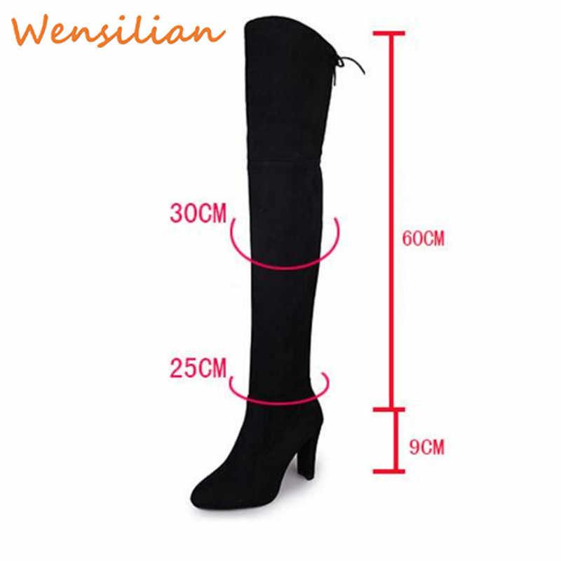 ผู้หญิงฤดูหนาวกว่าเข่ารองเท้าบูทส้นสูงต้นขาสูงรองเท้ายาวรองเท้าผู้หญิงหญิง botas Mujer 2019