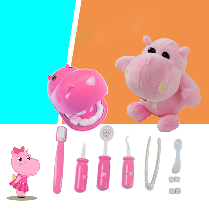 Hippo Dentist Simulation Medical Tools Children's Puzzle Early Childhood Education House Dental Clinic Doctor Toy Set Student Gi