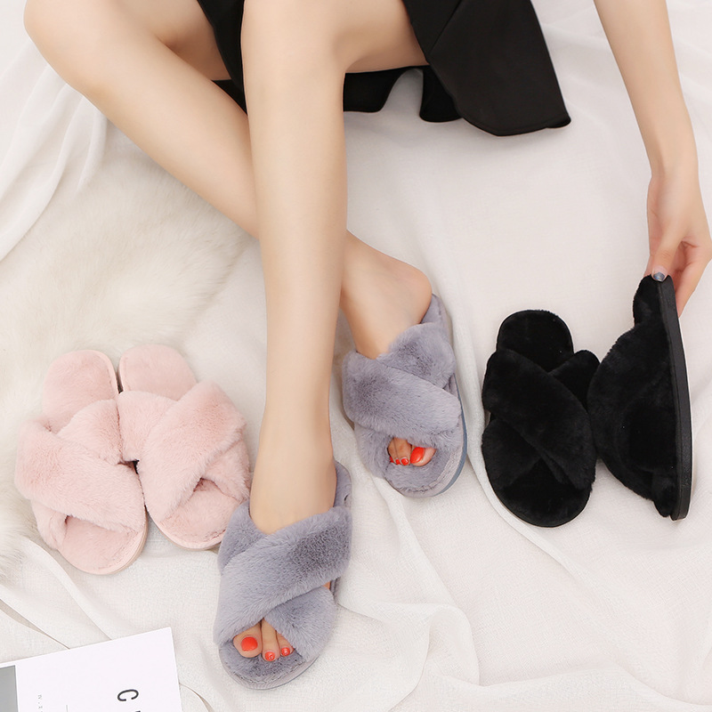 Women Winter Warm Comfy Fluffy Sandals Closed Toe Slip On Bedroom House Slippers