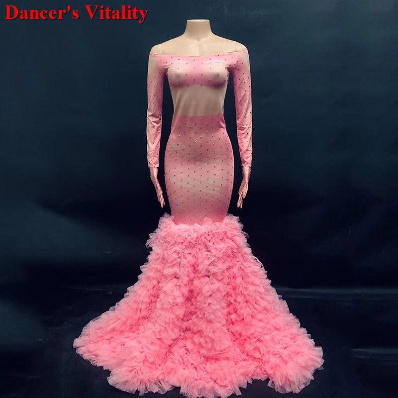 Pink One piece ladies Prom dress women's dresses evening dress Party dress Feminine clothes chinese folk dance wedding dresses