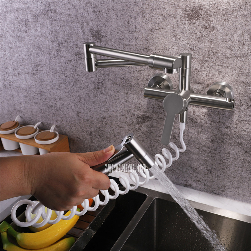 LE-6954 Copper Rotatable Folding Tap Multifunctional Hot And Cold Water Wall In Tap Wall Mounted Kitchen Faucet With Spray Gun