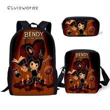 ELVISWORDS 3PC Set Kids Backpack Bendy and the Ink Machine Pattern School Book Bags Cartoon Designer Backpack/Flaps Bag/Pen