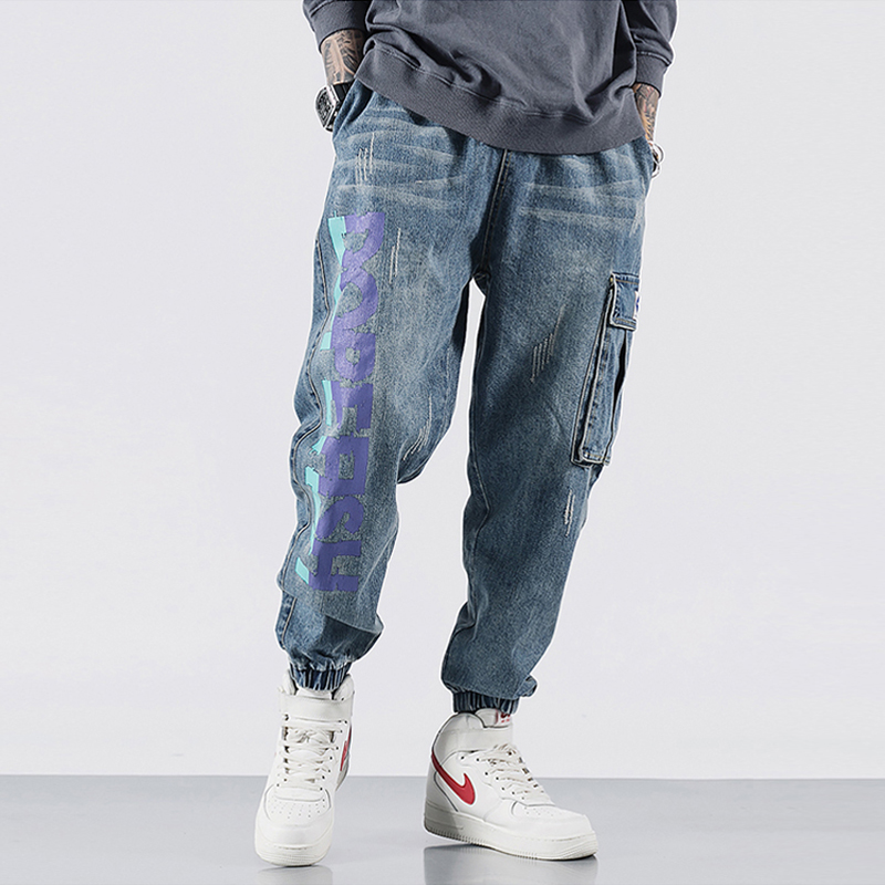 Fashion Streetwear Men Jeans High Quality Loose Fit Big Pocket Cargo Pants Harem Jeans Printed Designer Hip Hop Jogger Jeans Men