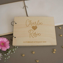 Personalised wedding guest book Modern engraved wooden guest book Wedding decor Guest signing book wooden memory book