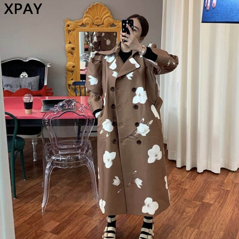 2020 Spring Autumn Double Breasted Trench Women Elegant Korean Print Vintage Long Windbreaker Large Size Belted Trench Female