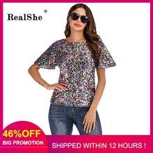 RealShe Elegantes Nobles Mujeres de la camiseta de Lentejuelas Camiseta de Las Mujeres La Moda de Nueva Top Tee Shirt Femmer Mujer Ropa Fresca