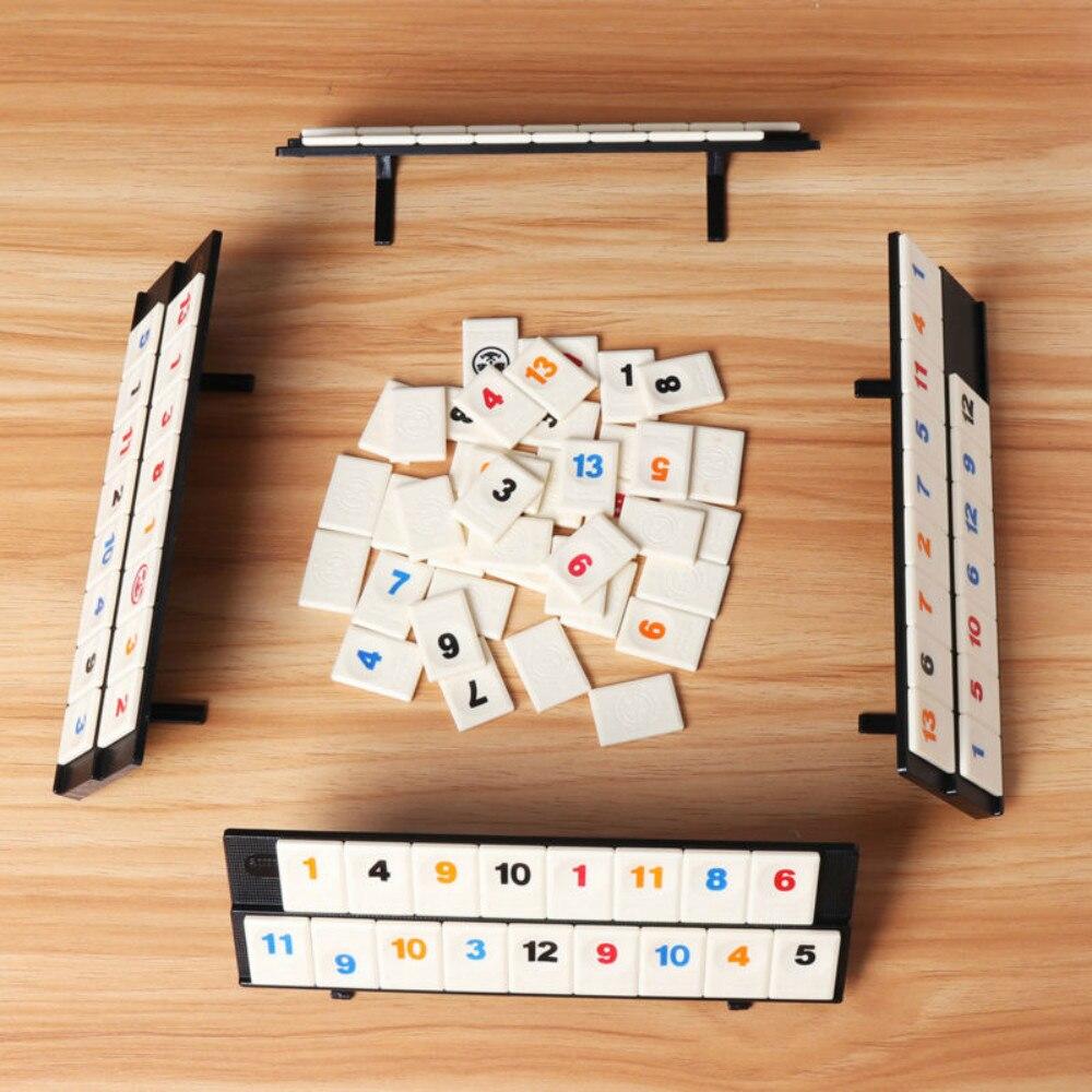 Parent-child Interactive Toys Games Portable Digital Board Game Israel Mahjong Rummikub 106 Tiles Family Travel Digital Puzzle