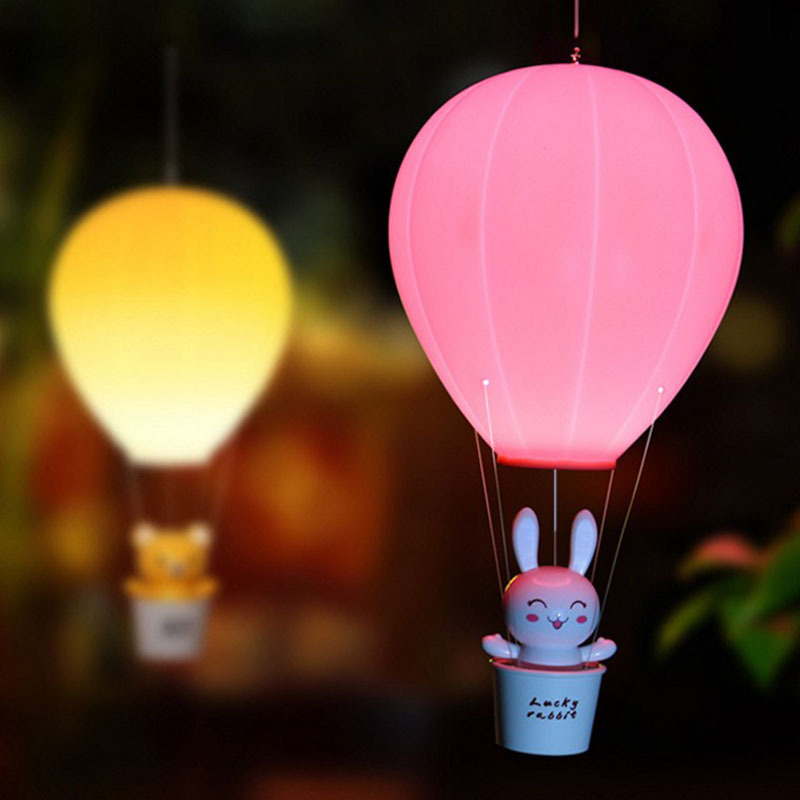 Hangable Hot Air Balloon LED Novetly Light Remote Control USB Rechargeable Toys Lamps For Baby Kids Bedside Decoration Lights