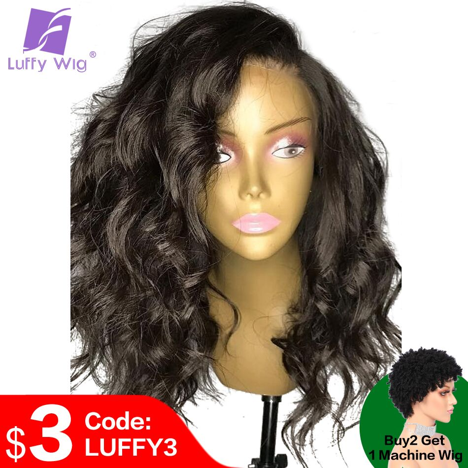 Glueless 13x6 Lace Front Wigs Human Hair With Baby Hair Wavy Peruvian Remy Hair Pre Plucked Medium Ration 150%-180% LUFFY