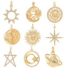 Sol Lua Pingentes Encantos para Fazer Jóias de Cobre Do Ouro Do Vintage Cristal de Zircão CZ Colar Diy Charme Acessórios de Moda Jóias
